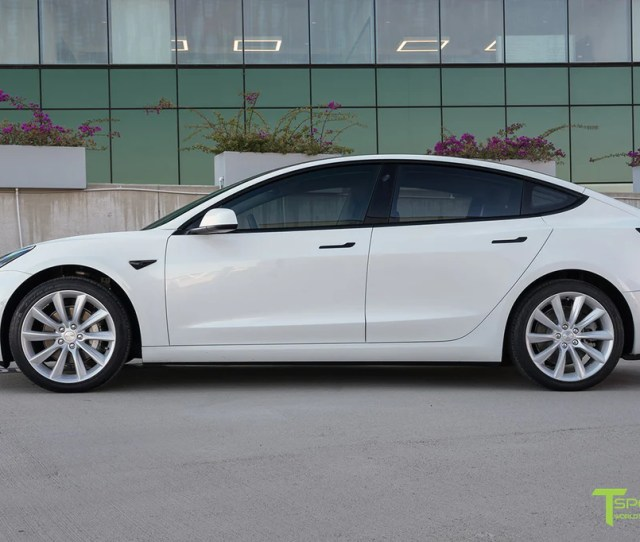 And Pearl White Tesla Model  Inch Tst Turbine Wheels Window Tint