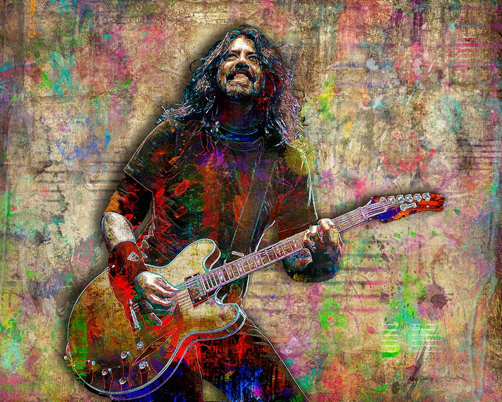 dave grohl of foo fighters poster dave grohl gift foo fighters tribute fine art