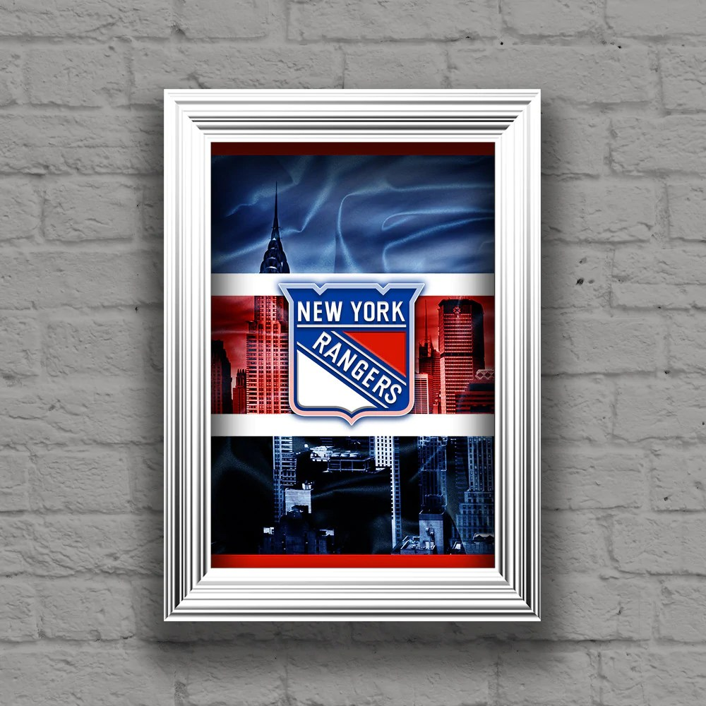 new york rangers hockey poster new york rangers print ny rangers man cave art