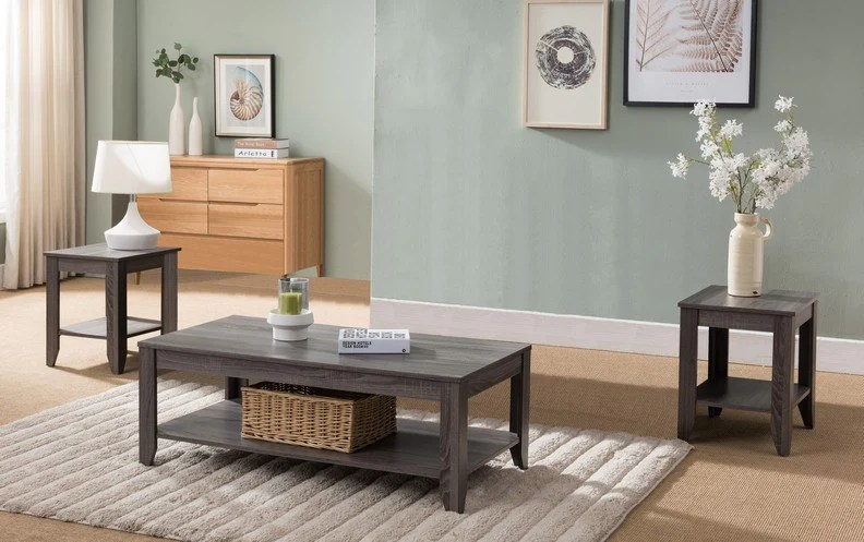 distressed grey finish coffee table set
