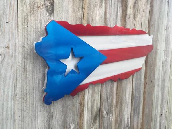 Puerto Rican Metal Art Or Wood Flag Cut To Look Like