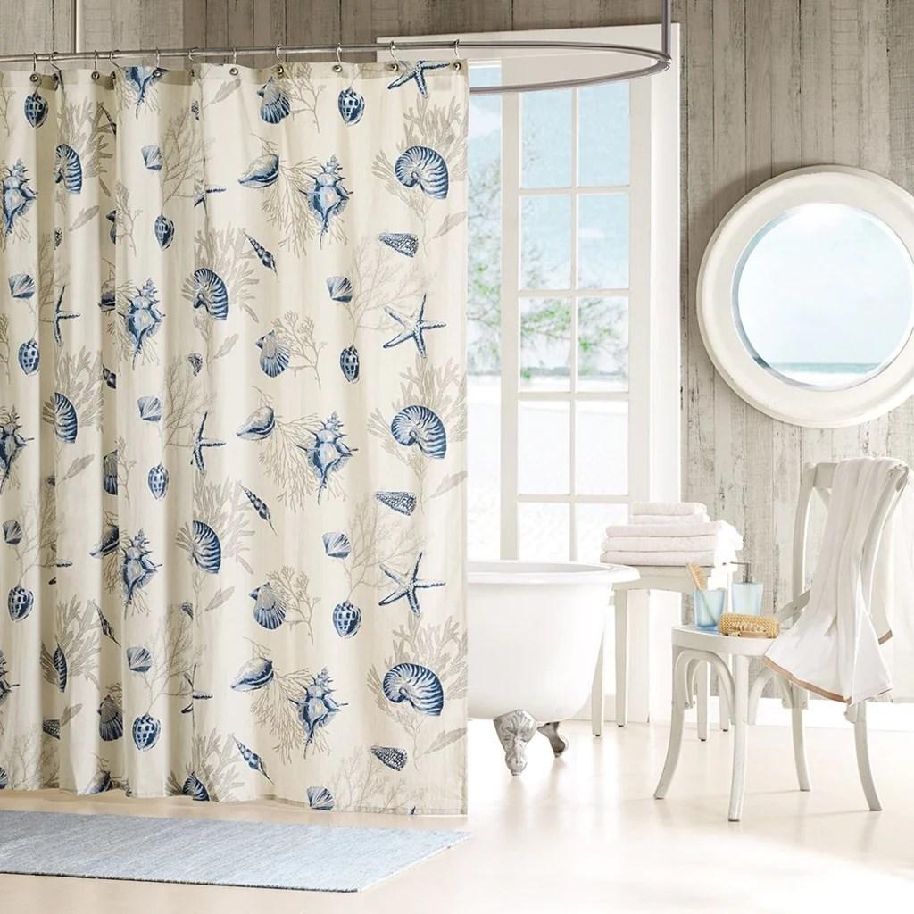 girls white blue beach themed shower curtain sea shell ocean