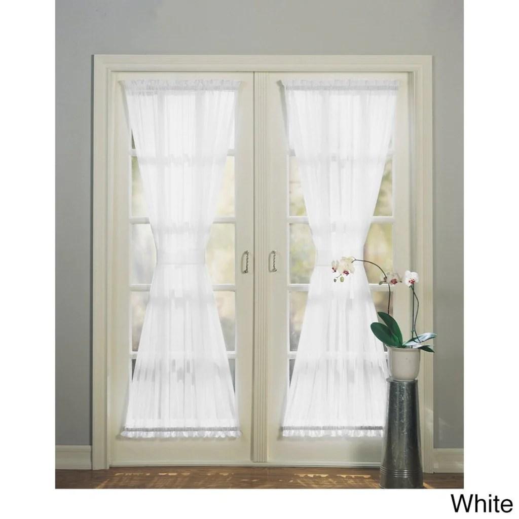 sheer voile french door curtain single panel glass door patio