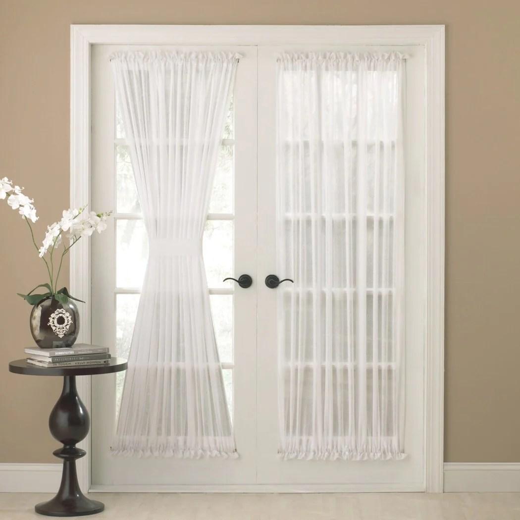 semi sheer french door curtain single panel glass door patio