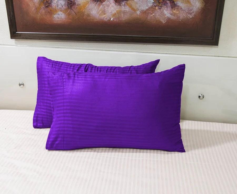shiny purple striped pillowcase aanyalinen