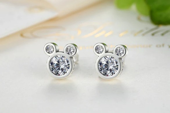 Mouse Silver Plated Cubic Zirconia Earrings     Adventures in Wanderlust mickey minnie mouse ear rings earrings disney 925 silver plated jewelry  accessories fashion walt world land
