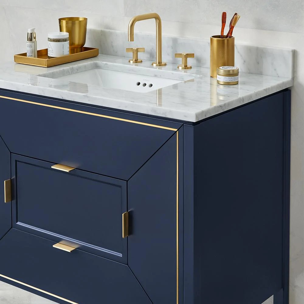 36 Quot Amora Bathroom Vanity Set In Navy With Natural Carrara