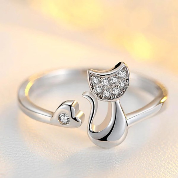 Cat Accessories   Cute Little Cat Ring   Silver   MissMeowni MissMeowni Ring OneSize   Silver Cute Little Cat Shaped Ring   Silver
