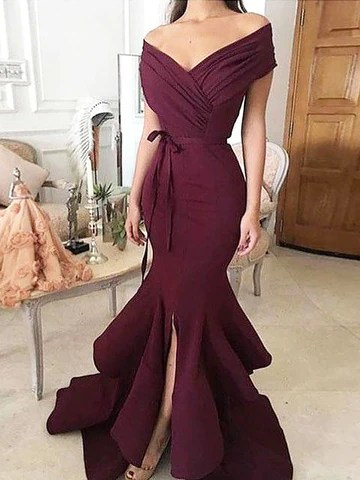 Mermaid Off-the-Shoulder Ruched Satin Prom Dress