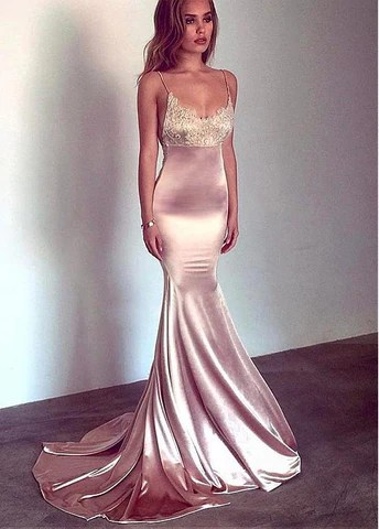 Charmeuse Spaghetti Straps Mermaid Prom Dress