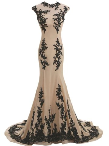Cap Sleeves Trumpet Beading Evening Dress