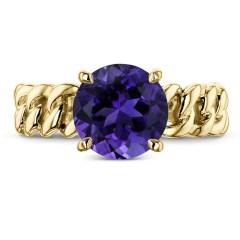 8MM STONE GOLD CHAIN RING (GARNET, AMETHYST, OR SMOKY QUARTZ)