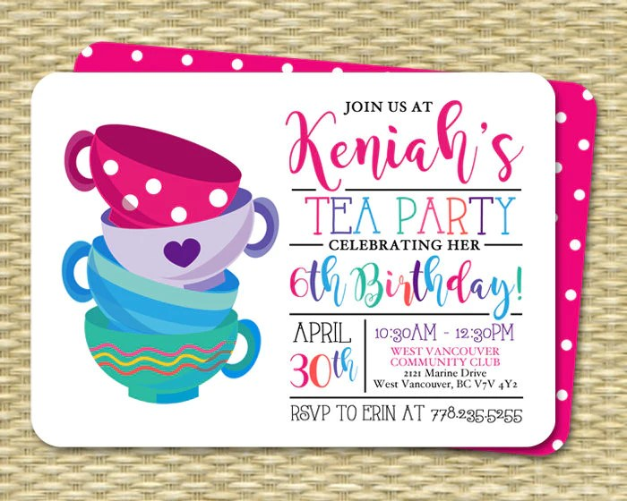 tea party birthday invitation girl pink purple blue bright colors modern tea party invite girl tea party birthday invite any age