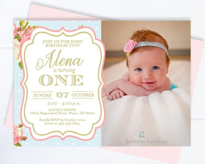floral first birthday invitation with photo girl tea party 1st birthday invite vintage roses style pink roses tea party invite any age