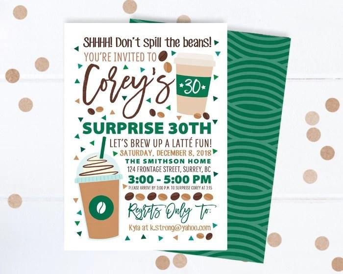 coffee lover birthday invitation coffee shop birthday surprise 30th birthday invite coffee theme