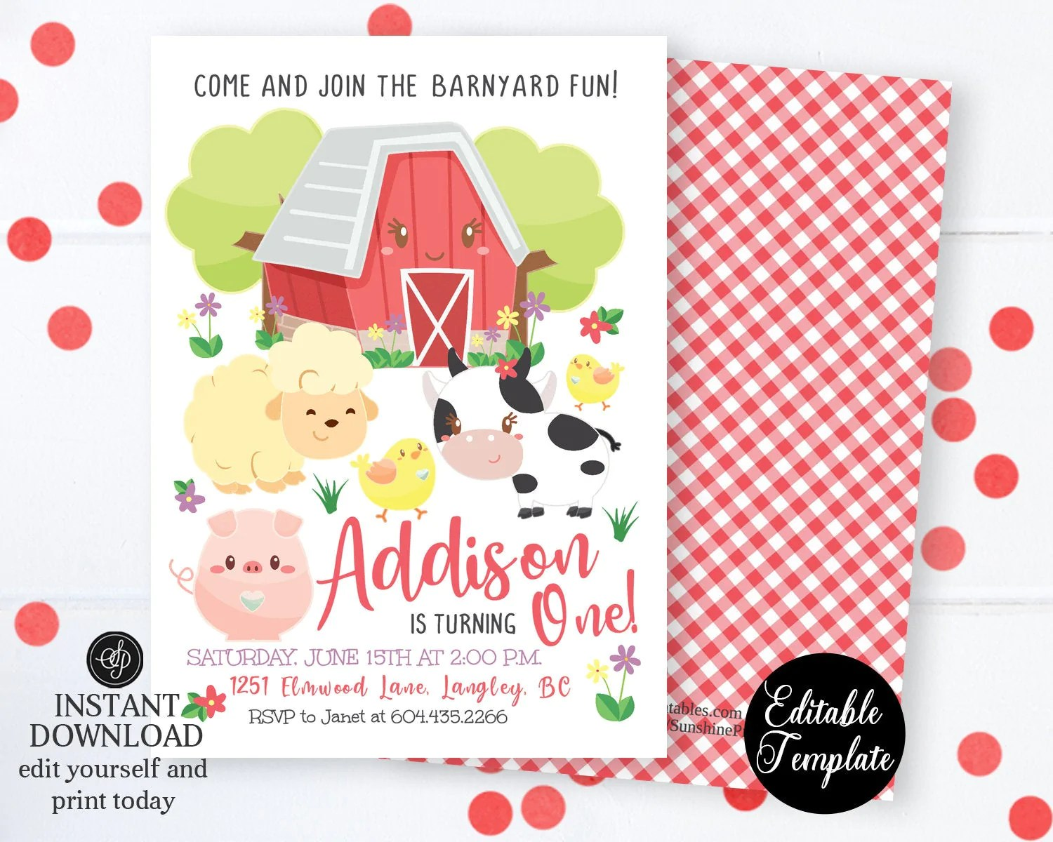 farm animals 1st birthday invite with photo farm 1st birthday invitation printable farm animals barnyard fun editable template sp0050