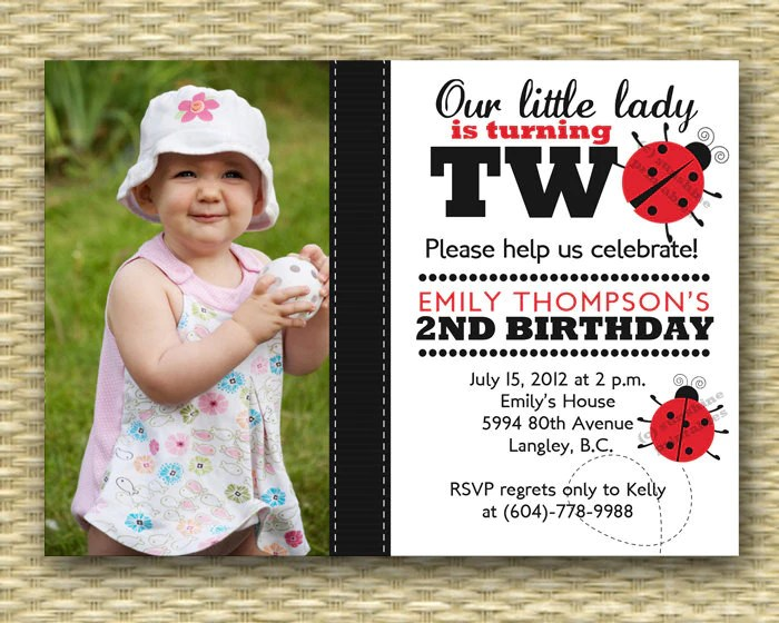ladybug first birthday invitation 1st birthday photo card printable or printed
