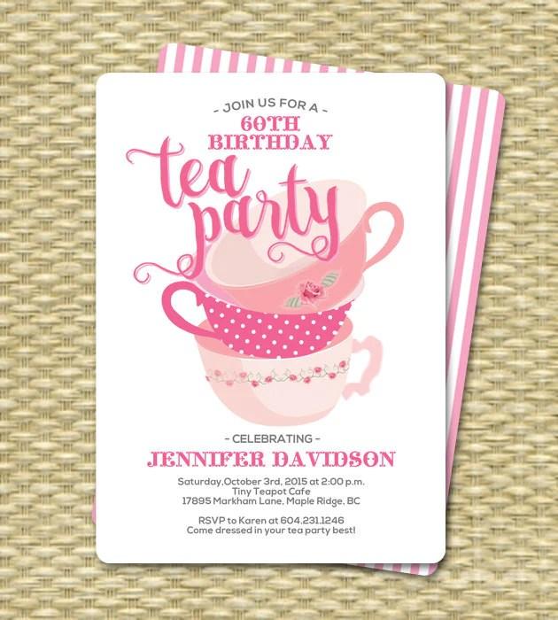 birthday tea party invitations birthday tea party invitation birthday tea party 60th birthday any age birthday high tea afternoon tea
