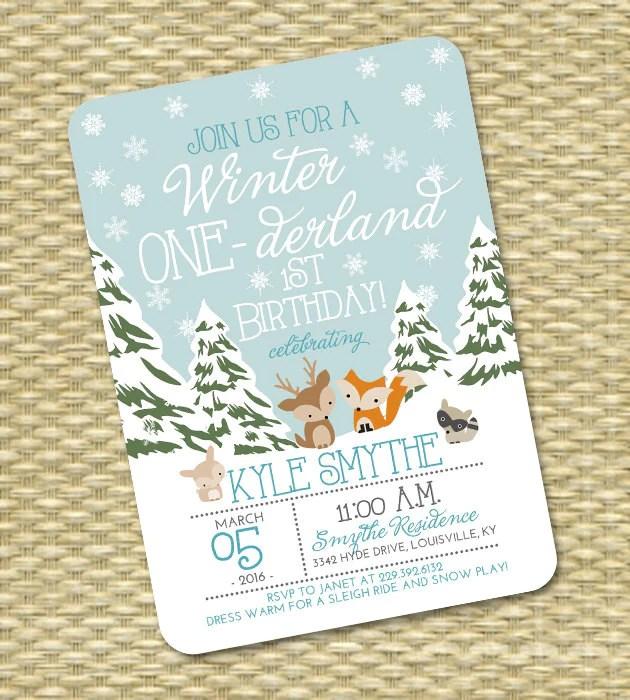 winter onederland 1st birthday invitation first birthday invitation winter one derland 2nd birthday woodland animals blue snowflakes snow