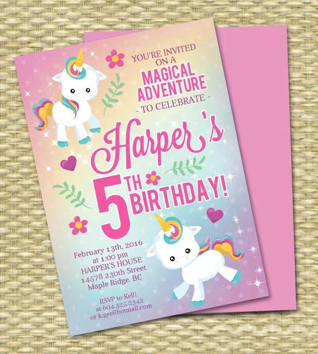 unicorn birthday invitation unicorn party invitation rainbow birthday invitation rainbow party invitation 5th birthday any age any colors
