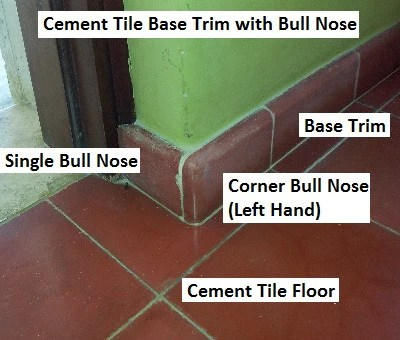 cement tile molding or base trim and