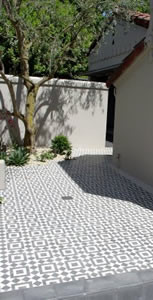 moroccan themed cement tile patio