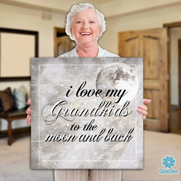 """Download Canvas Wall Art Quote """"I Love my Grandkids to the Moon and ..."""