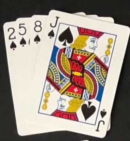 (在Devil's Grip中,您必須按特定順序堆積一堆。上面是第一行中的紙牌堆疊方式。)