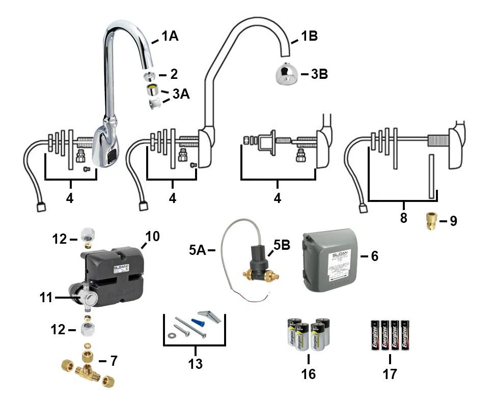 sloan electronic faucet parts ebf 550