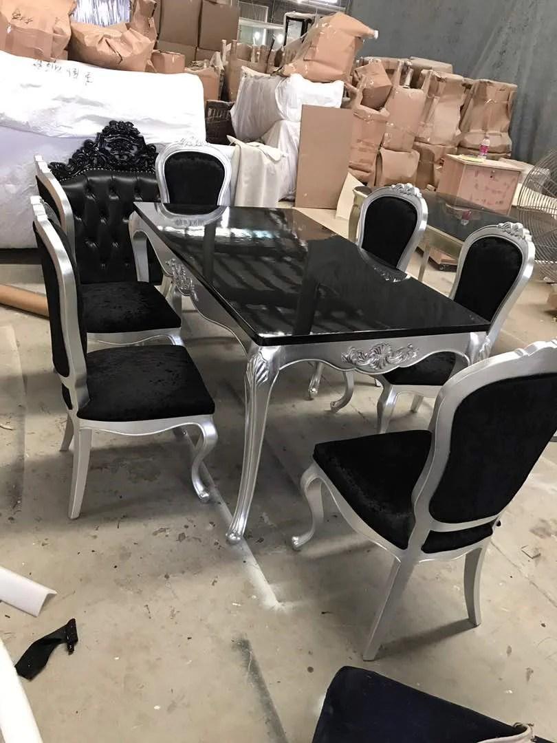 Luxury Italian Style Wood Dining Table Set 180cm Black Silver So Lisf Ltd