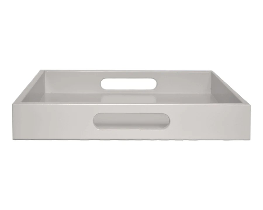 gray lacquer tray with handles