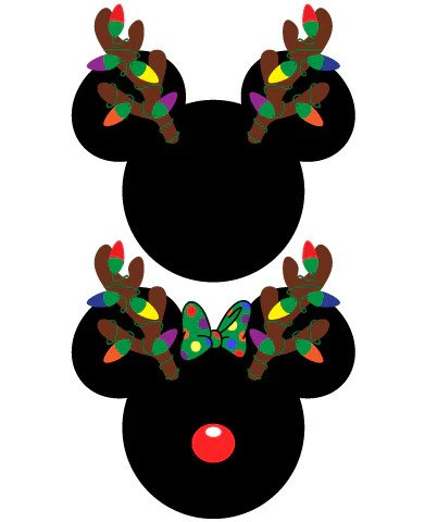 Instant Download Mickey And Minnie Mouse Christmas Antlers