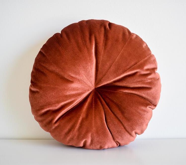 velvet round pillow rust