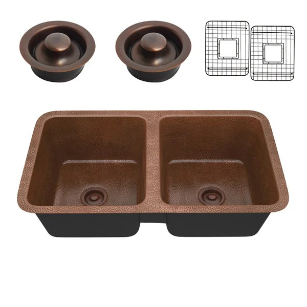 eastern drop in handmade copper 32 in 0 hole 50 50 double bowl kitchen sink in hammered antique copper