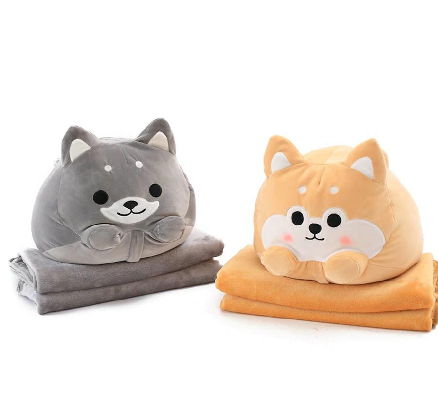 shiba inu pillow with blanket combo kawaii berry shop