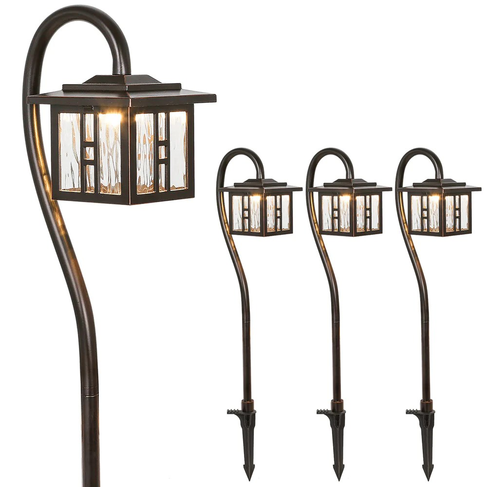 low voltage outdoor integrated led landscape lighting 3w 185lm oil rubbed bronze pathway light for yard lawn die cast aluminum construction 4 pack