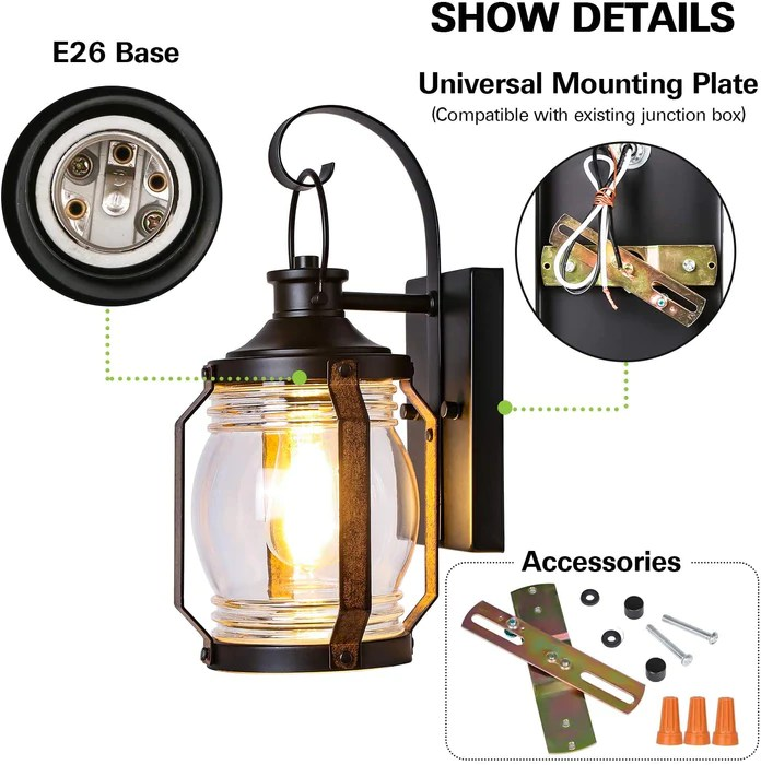 canyon outdoor indoor wall light fixture exterior black wall lighting architectural wall sconce with clear glass shade for entryway porch front