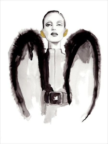 Fashion illustration print of  YSL Wings  by Sjoukje Bierma     Fashion illustration print of  YSL Wings  by Sjoukje Bierma     Sjoukje  Bierma Illustrations
