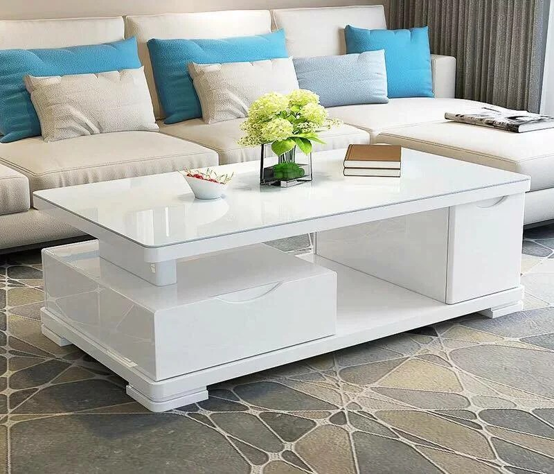 cady white glossy center table w tempered glass