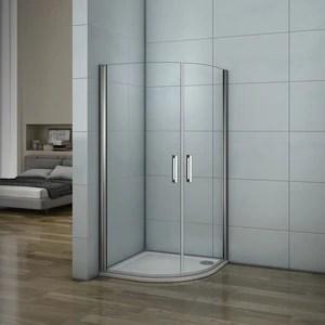 aica cabine de douche acces d angle 1 4 de cercle porte de douche pivotante verre anticalcaire montage a gauche ou a droit differentes dimensions
