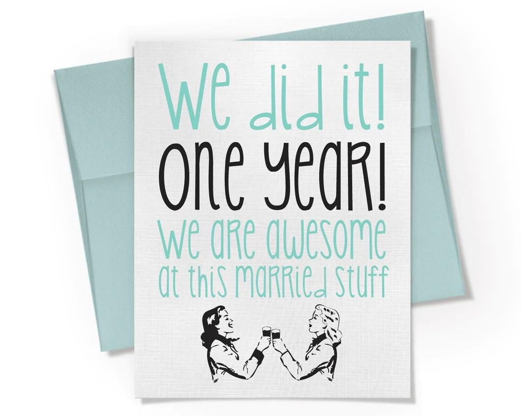 Card First Anniversary Card Lesbian Gay One Year Anniversary Card Beckamade