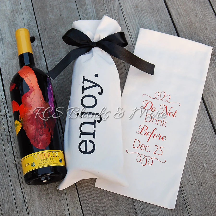 Cotton Wine Bottle Gift Bag RCS Blanks LLC