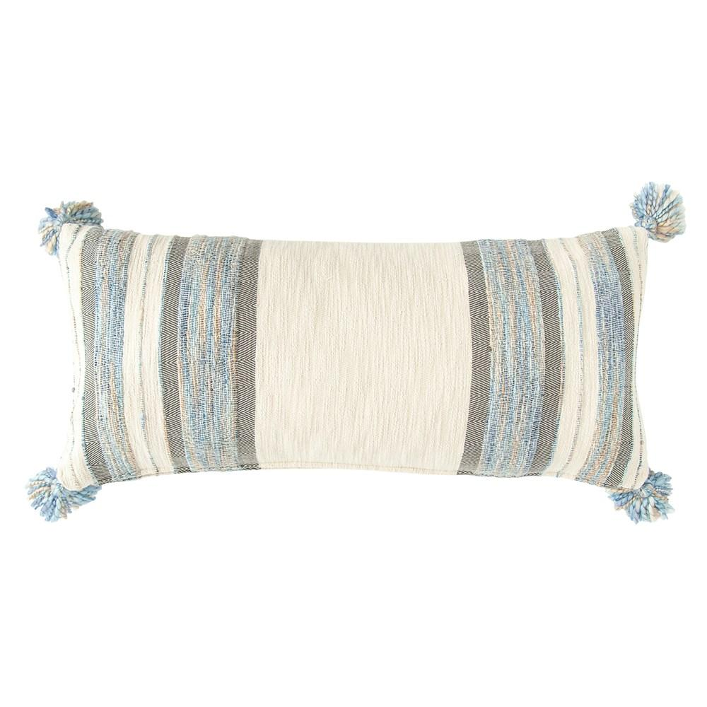 cotton and wool striped lumbar pillow blue white and gray decor city home