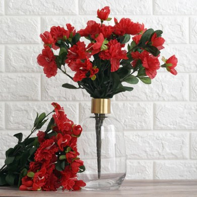 Wedding Silk Flowers     tableclothsfactory com 4 Bush 120 Pcs Red Artificial Silk Gardenias Flowers Wedding Vase  Centerpiece Decoration