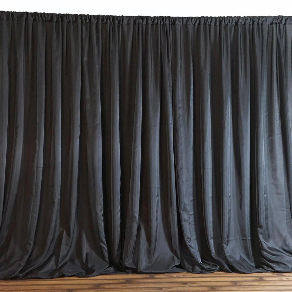20ftx10ft Black Double Layer Polyester Chiffon Backdrop With Rod Pockets Tablecloths Factory