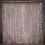 18ft X 9ft 600 Sequential White Led Lights With White Organza Big Photography Curtain Backdrop Tableclothsfactory