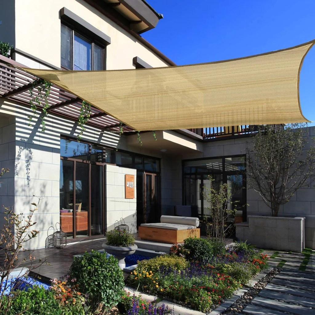 16ft x 20ft tan rectangle sun shade sail uv block canopy for outdoor patio backyard