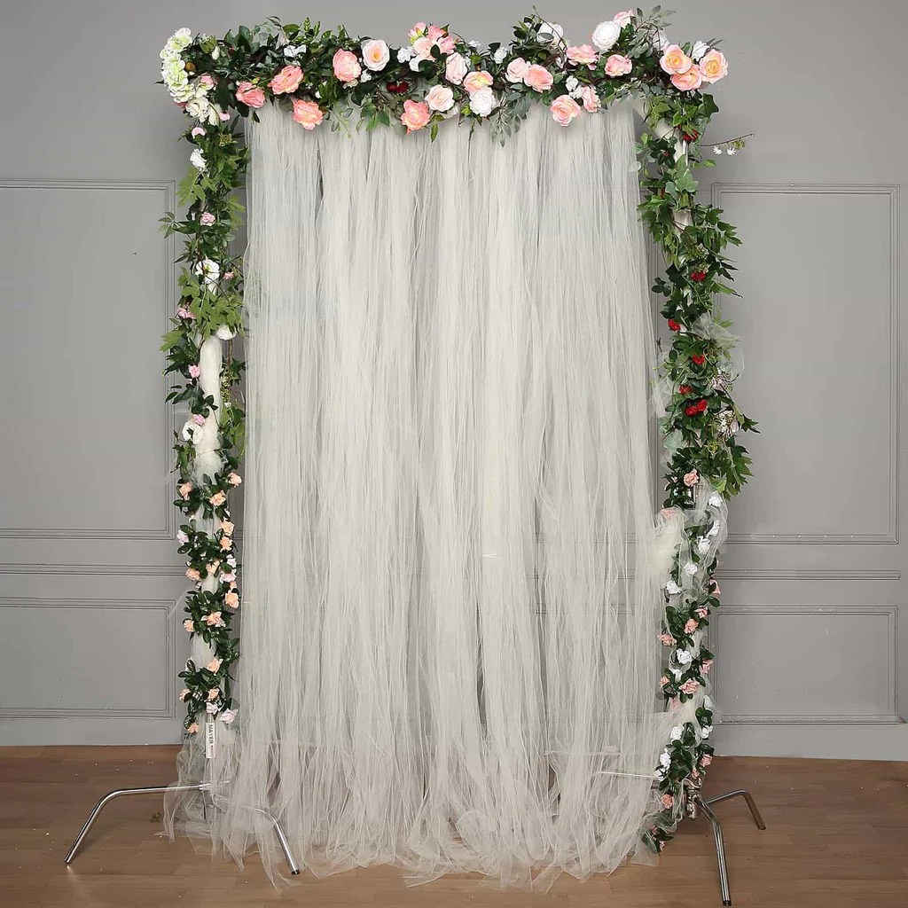 5ft x 10ft double sided tulle backdrop sheer curtain panels with satin rod pockets ivory