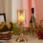 13 Tall Lace Design Gold Amber Hurricane Glass Candle Holder With Glass Tube Tableclothsfactory