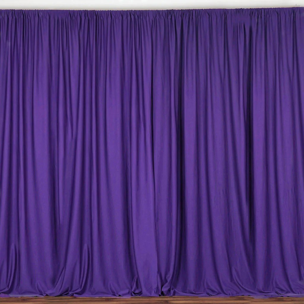 pack of 2 5ftx10ft purple fire retardant polyester curtain panel backdrops with rod pockets